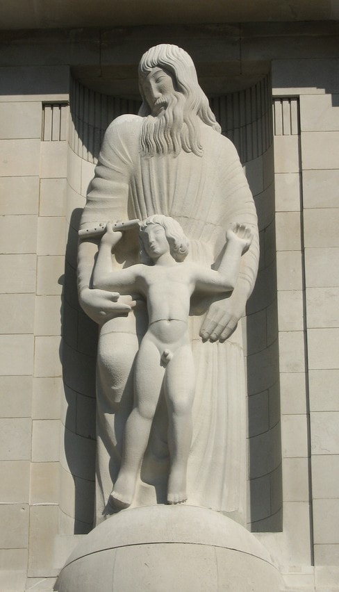 Sculpture of Prospero &amp; Ariel at the BBC, Eric Gill, 1932