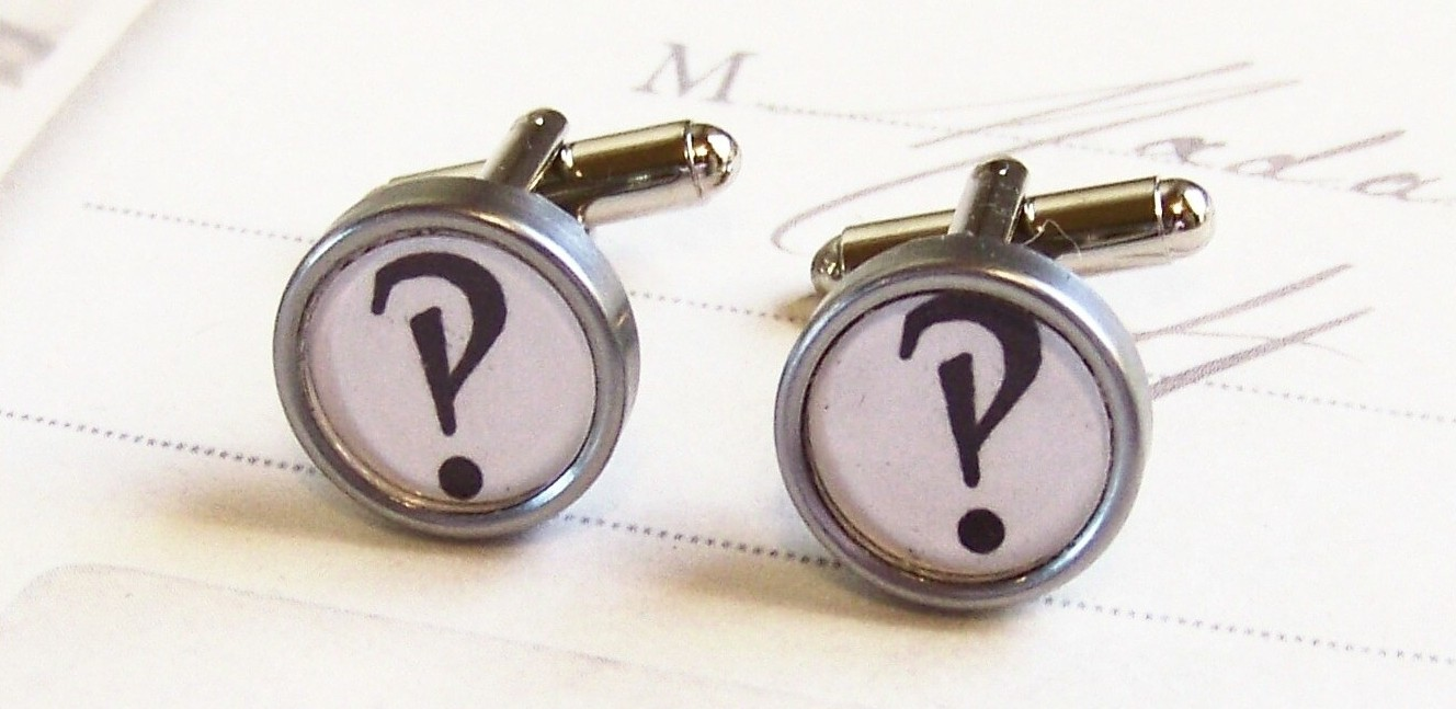 Interrobang cufflinks, by webbysue on Etsy