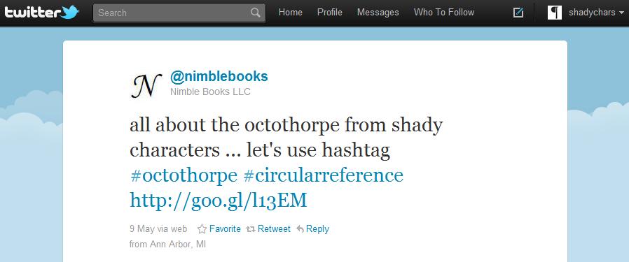 Nimble Books uses the recursive hashtag '#octothorpe'