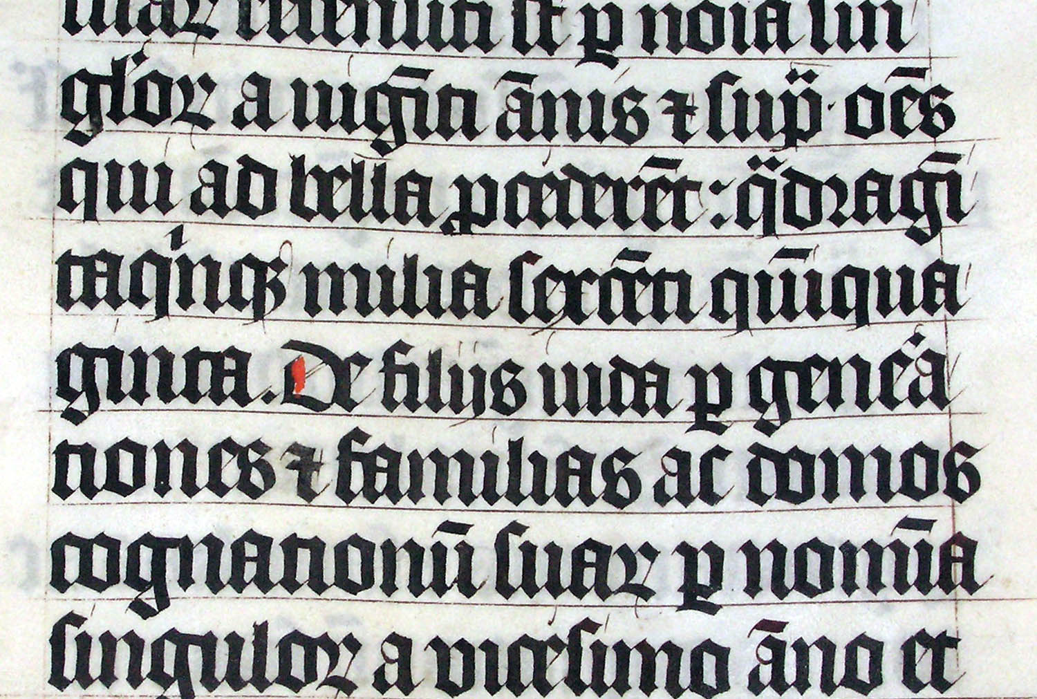 Blackletter bible using the Tironian et, 1407