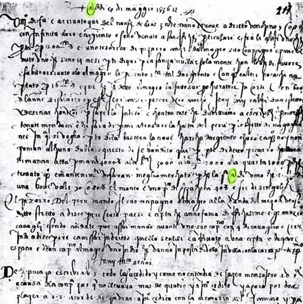 '@' for 'amphora' in Francesco Lapi's letter of May 4th, 1536