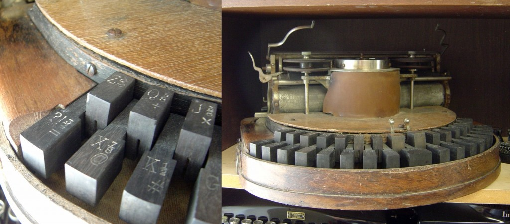 The &#039;@&#039; symbol on the keyboard of an 1889 Hammond typewriter