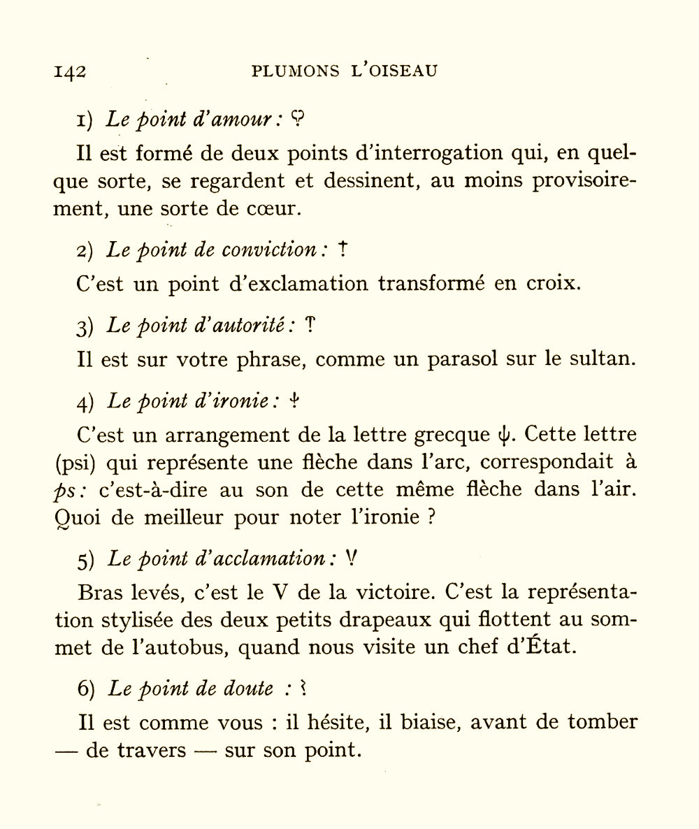 Hervé Bazin's menagerie of proposed punctuation marks