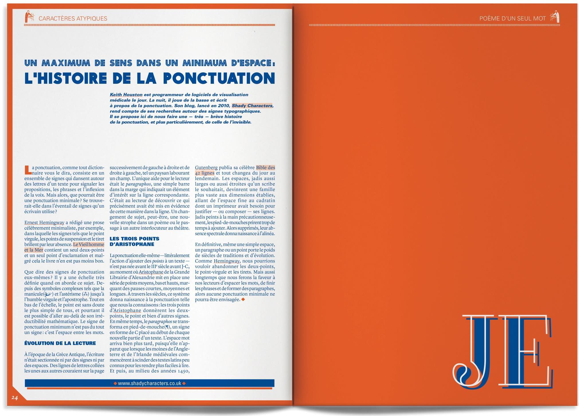 """""""Un maximum de sens dans un minimum d'espace: l'histoire de la ponctuation"""", Hiatus, la revue, issue 1."""