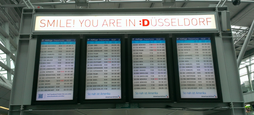 Departure board in Düsseldorf Airport