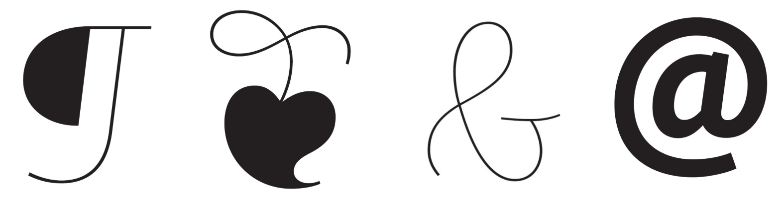 A pilcrow, hedera, ampersand and @-symbol from Jim Ford's Quire Sans. (Quire Sans™ is a trademark of Monotype Imaging Inc. and may be registered in certain other jurisdictions.)