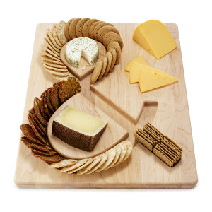 Cheese & crackers serving board from UncommonGoods of Brooklyn. (Image courtesy of UncommonGoods.)