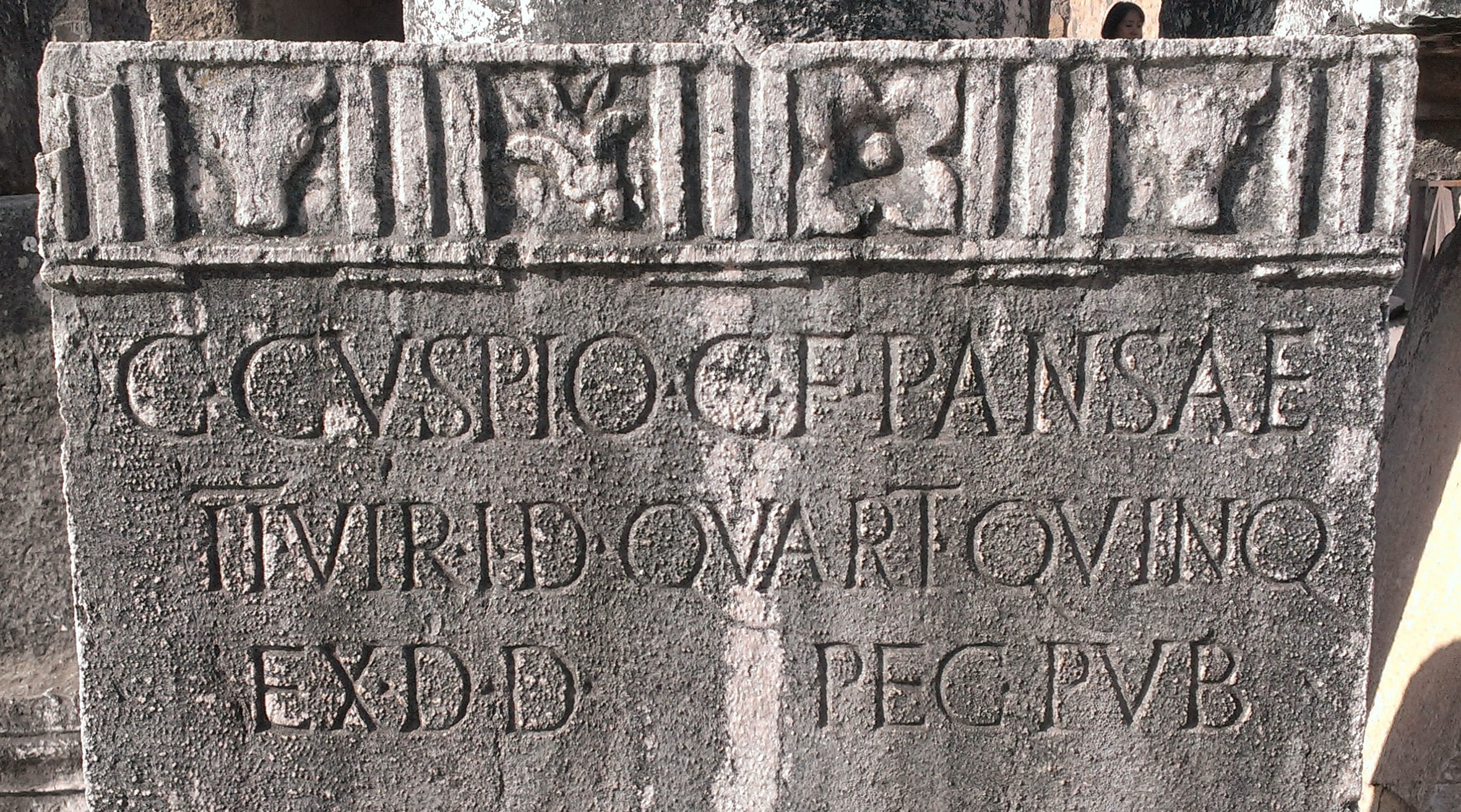 Inscribed plinth from Pompeii forum. (Photo by the author.)