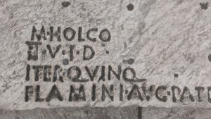 Inscription from theatre seating at Pompeii. (Photo by the author.)