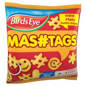"""Birds Eye """"Mashtags"""": """"PREFRIED POTATO SHAPES MADE WITH FRESHLY MASHED POTATOES [sic]""""."""