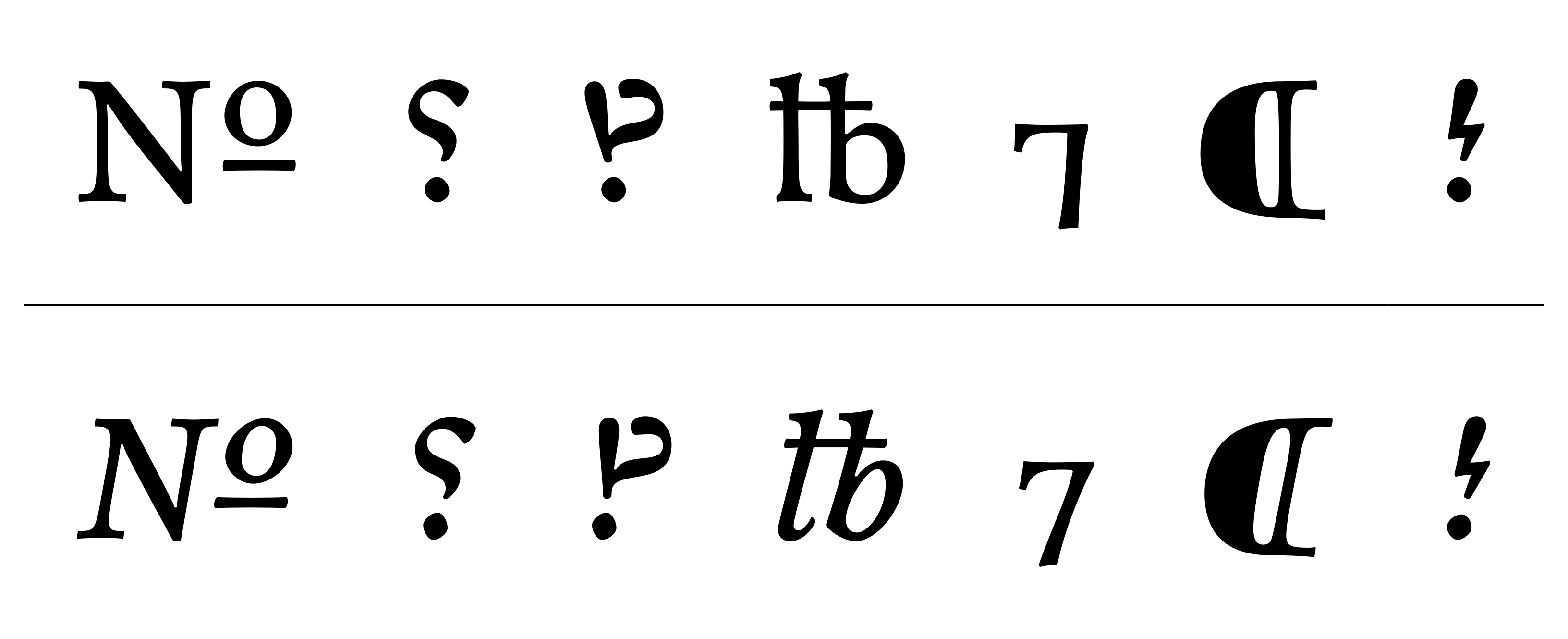 Custom symbols from Monokrom's Satyr typeface, as designed by Sindre Bremnes.
