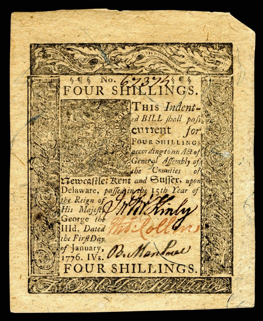 4-shilling banknote issued in 1776 by Delaware Colony