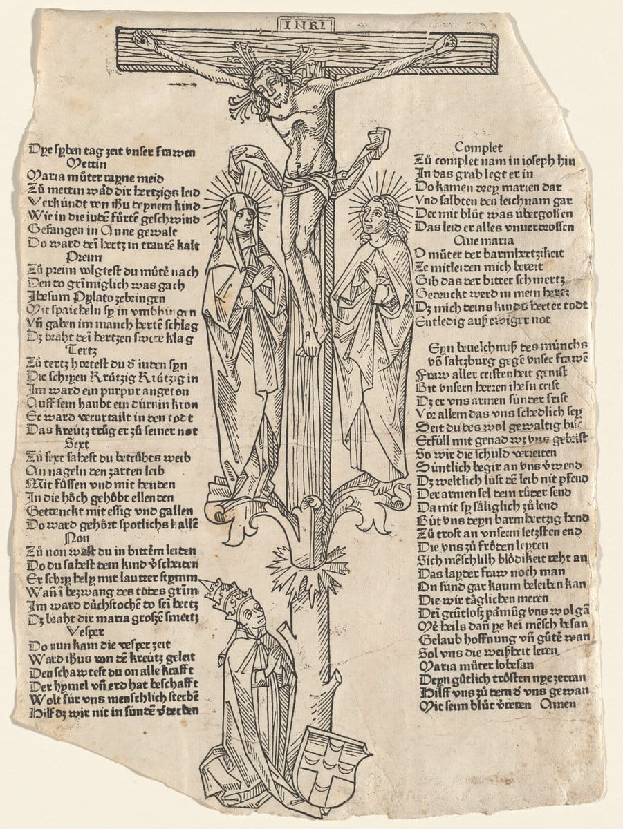 Christ on the cross - German 15th century woodcut